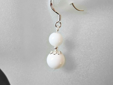 Brilliant White Tridacna Clam Shell Pearls & Sterling Silver Earrings